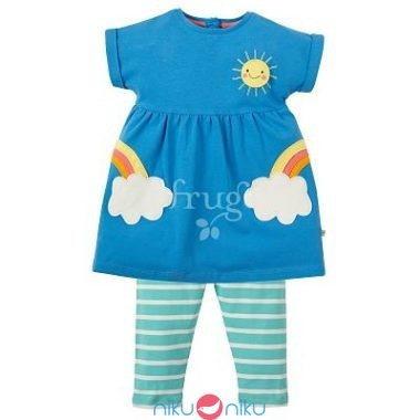 Completino casacca e leggings frugi sea blue clouds