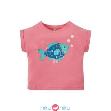 T-shirt frugi guava pink fish con applique