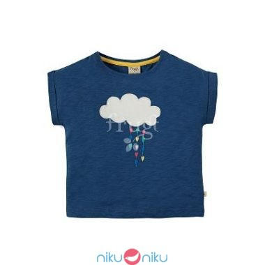 T-shirt frugi marine blue clouds