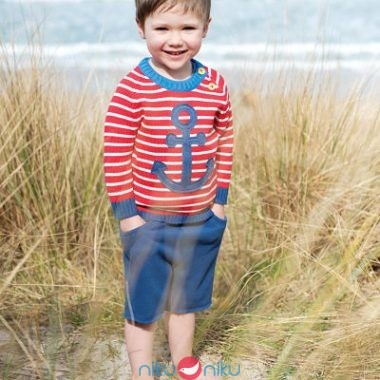 Maglioncino Frugi Little Finn stripe anchor indossato