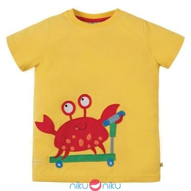 T-shirt Frugi sun yellow crab con applique