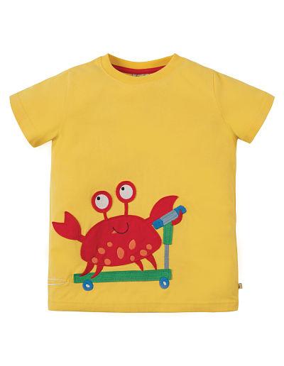 T-shirt Frugi sun yellow crab con applique